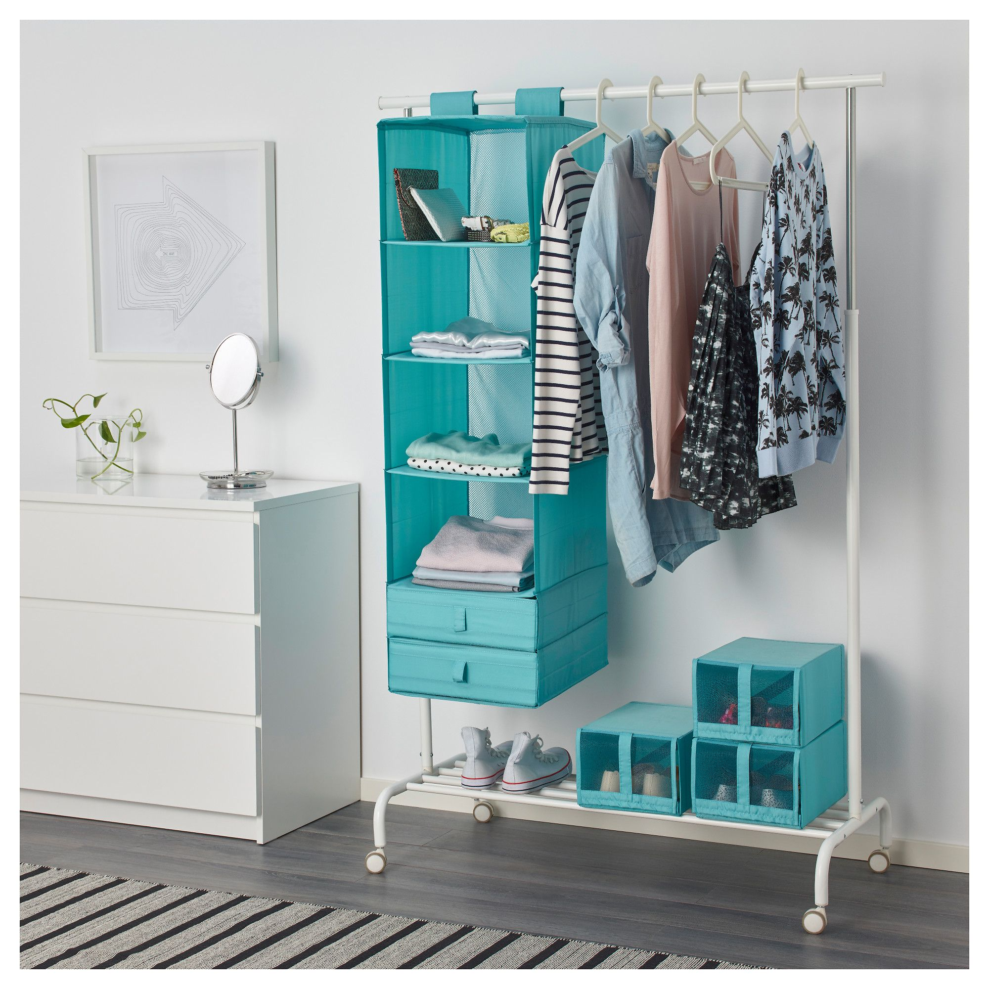 Virtual Dorm Room Design: SKUBB Organizer With 6 Compartments Light Blue