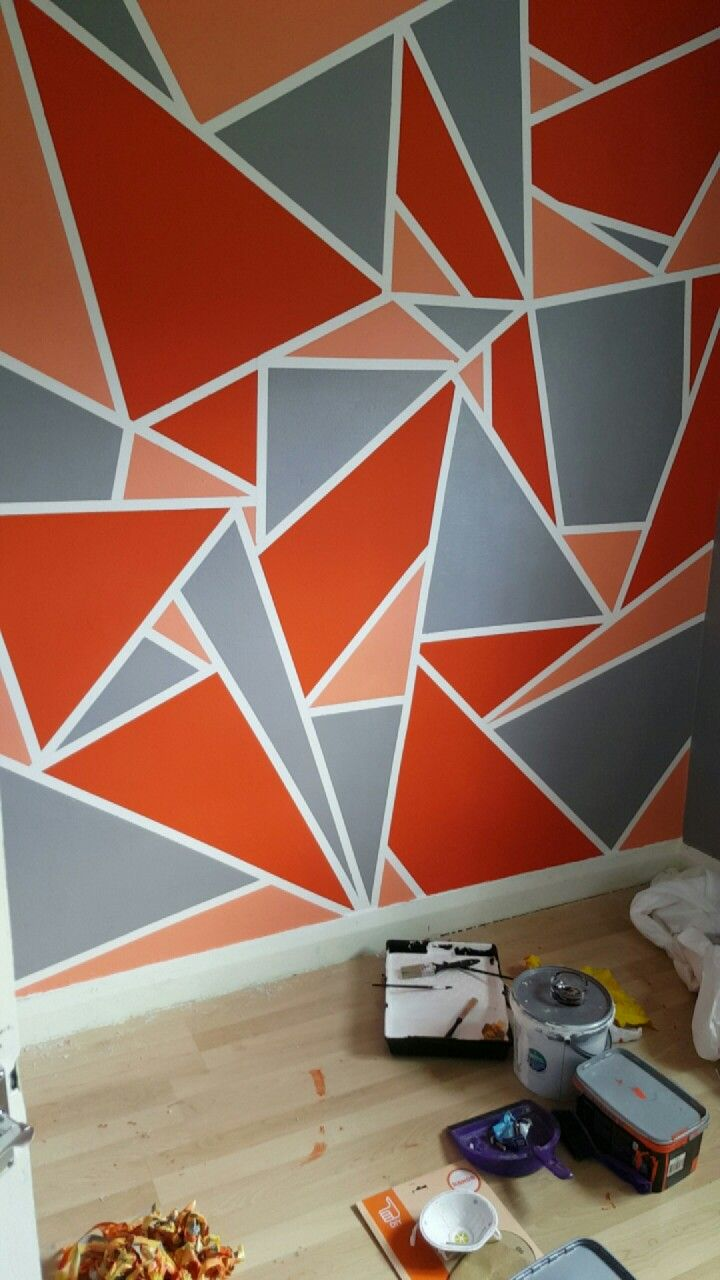 Geometric Wall Design | Wall in 2019 | Creative wall ...