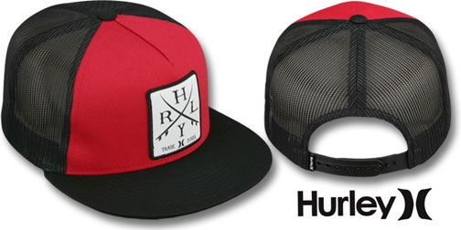 f0a9faf35f052 Hurley  TRADEMARK SNAPBACK  Red Black Trucker Hat   may be pictured without  stickers that these products are shipped with