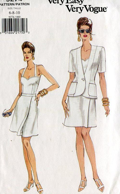 FREE US SHIP Vogue 9274 Halter Top Jacket Skirt 1995 Super Cute ...