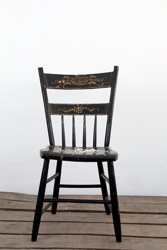 Primitive Chair / Antique Painted Wood Chair By 86home On Etsy, $275.00