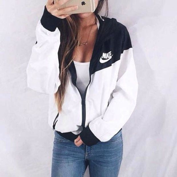 nike windbreaker black and white tumblr