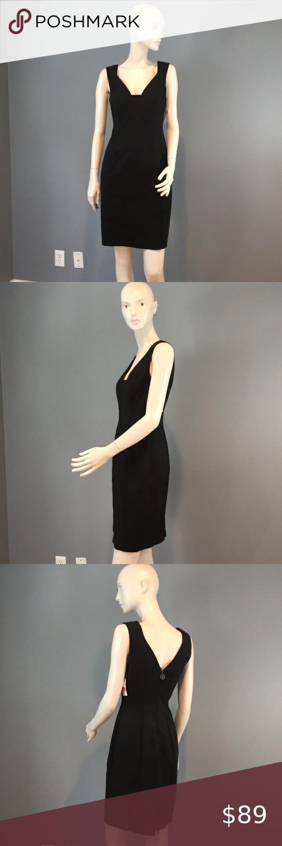 Nwot Elie Tahari Sheath Black Dress Sz 2 Lace Tank Dress Long Sleeve Shift Dress Blue Knit Dress [ 1740 x 580 Pixel ]