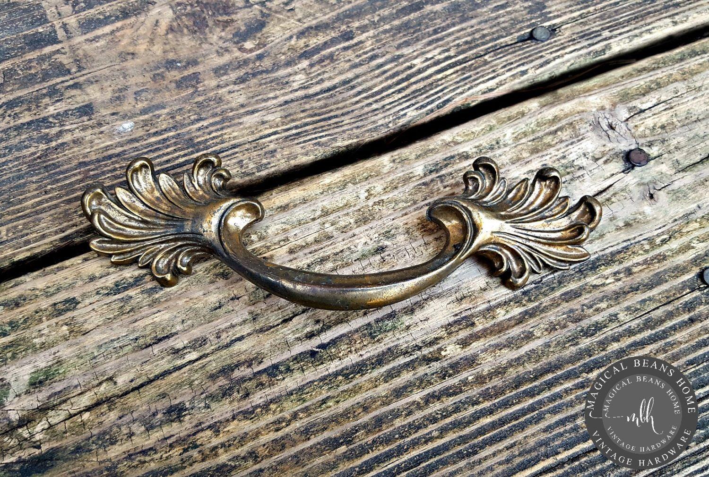 Salvaged Solid Brass Furniture Drawer Pull Handle Vintage Hardware.