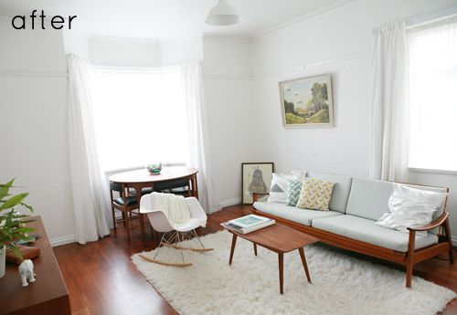 Small house makeover--I love the white walls and the clean, vintagey lines