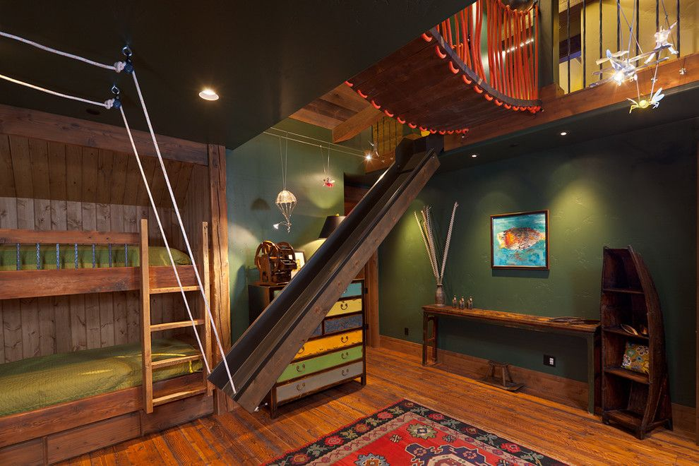 Innovative Bunk Beds With Slide In Kids Eclectic With Bridge Over