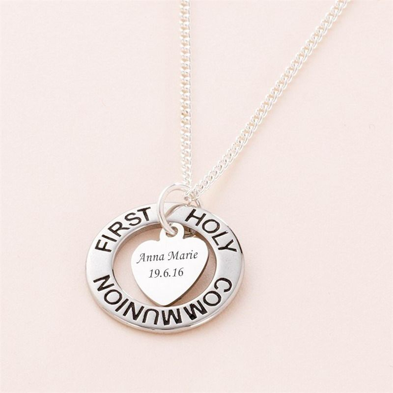 Girls First Holy Communion Ring Necklace with Personalised Heart Pendant - Religious Holy Communion Gifts for Girl - Keepsake Communion Gift Girls