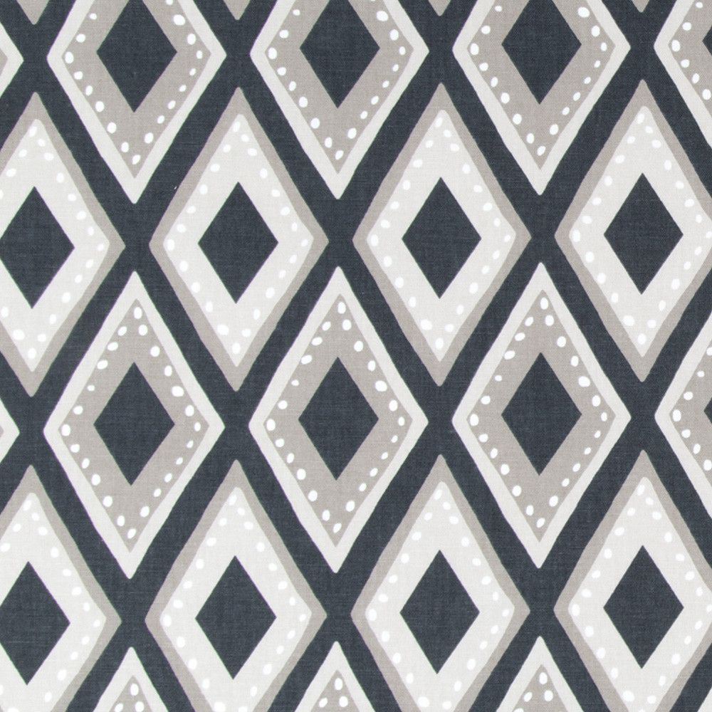 A global inspired diamond pattern fabric in black, taupe and stone ...