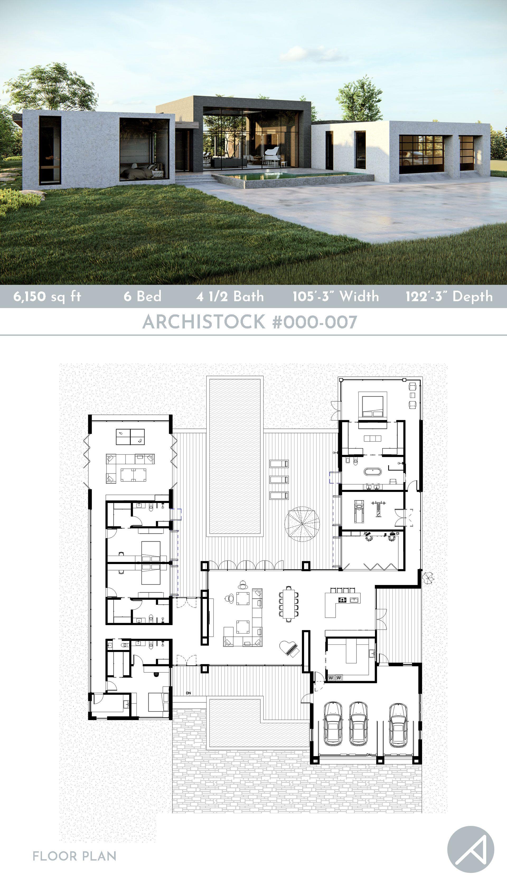 6 Bedroom Modern Minimalist Home Plan Modern Minimalist House Courtyard House Plans House Plan Gallery