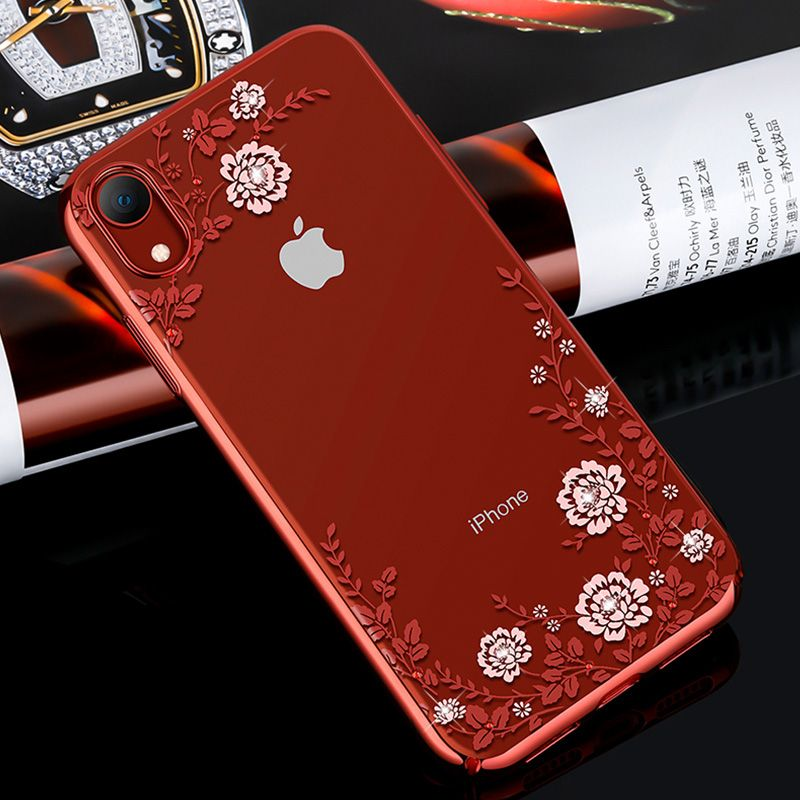 Clear Case with Bling Rhinestones Flower Design for iPhone