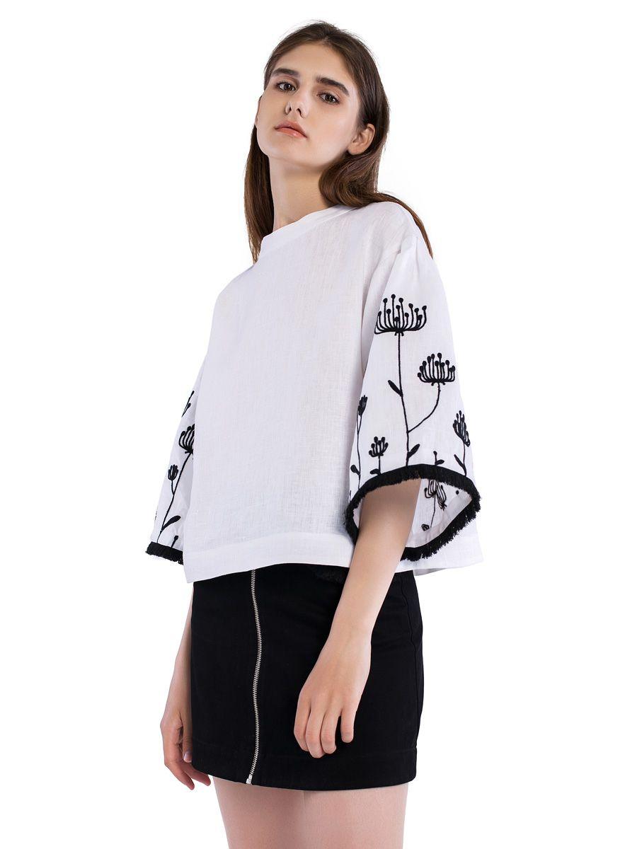 Лляна блузка з вишивкою на рукавах та бахромою Ethnic 6 в 2019 г ... 40be9592e0707