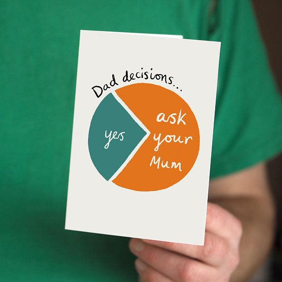 Funny Dad Decisions Pie Chart Card Perfect For Fathers Day Or