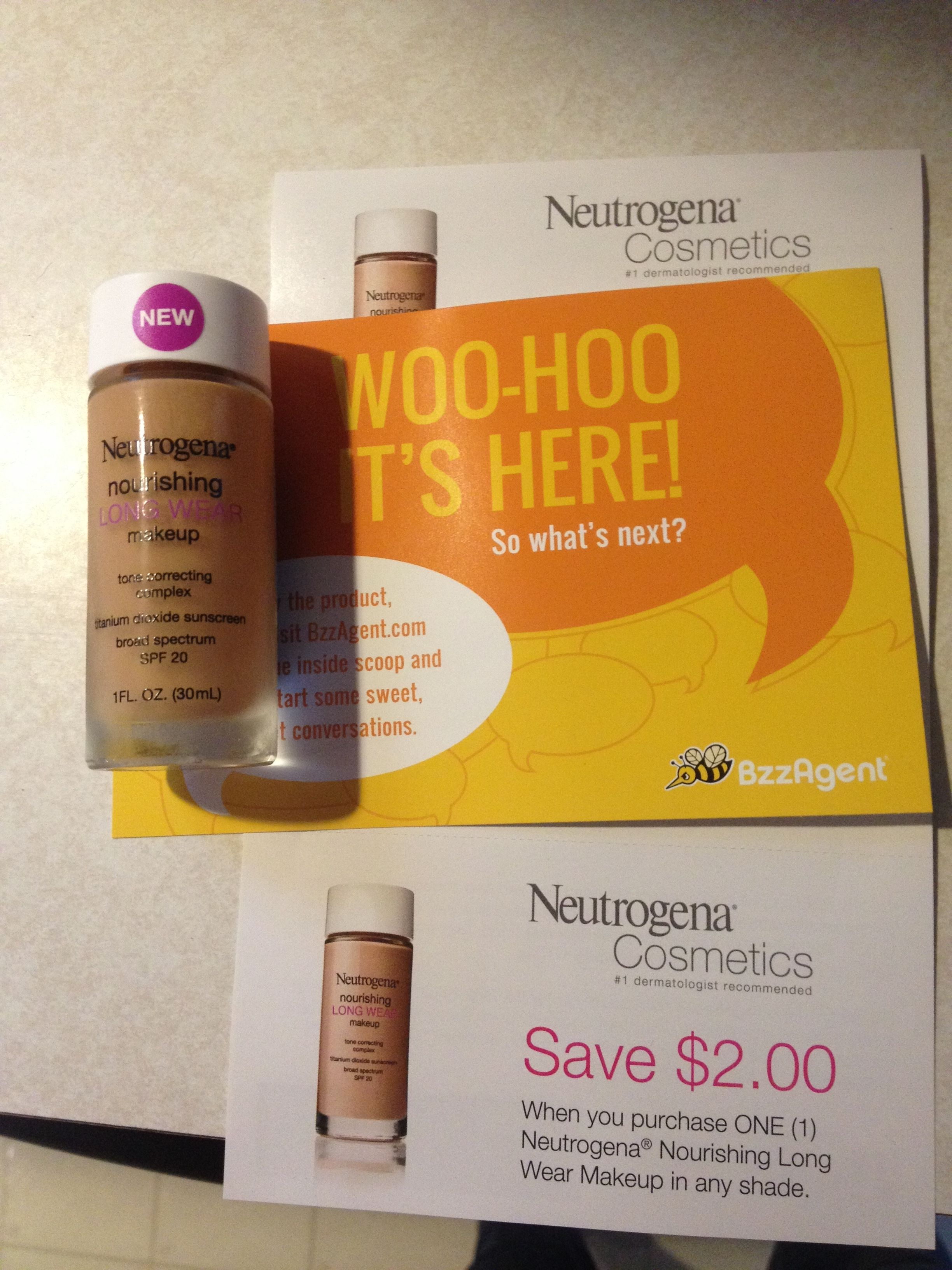 Neutrogena Nourishing Long Wear Foundation. @BzzAgent Love this foundation!  #gotitfree Really does last forever on your skin.  It covers everything also! #bzzagent