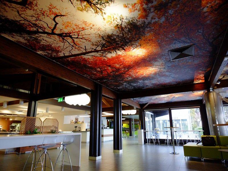 Signal de Bougy Plafond tendu acoustique imprimé et rétro-éclairé - toile tendue pour terrasse
