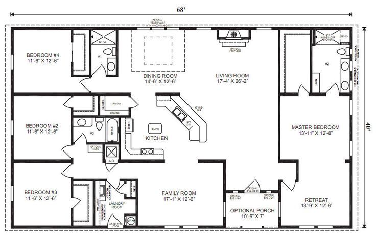 ranch house floor plans 4 bedroom Love this simple  no watered space plan    add a wraparound porch  garage with additional storage room and it would be. 4 bedroom 3 bath ranch plan Google Image Result for http   www