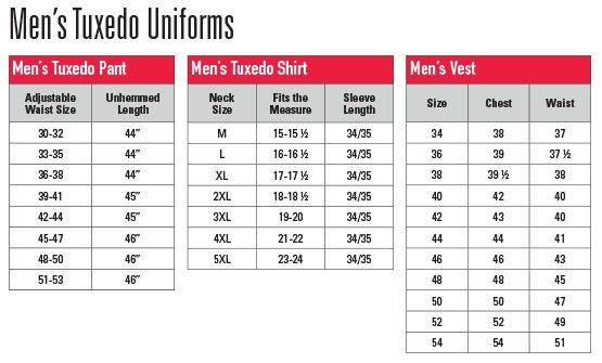 Chef Uniforms Size Charts Tuxedo Shirt Men Tuxedo For Men Men In Uniform