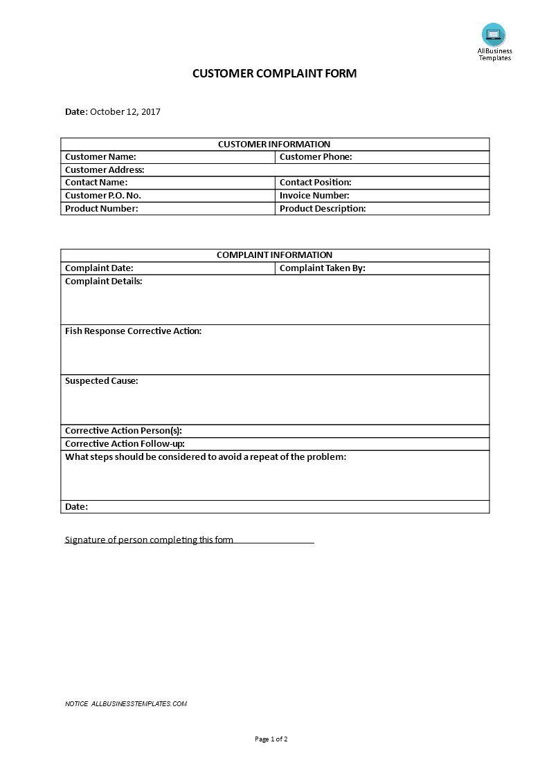 Customer Complaint Form Template Fresh Customer Plaint Form Communication Plan Template Customer Complaints Attendance Sheet Template