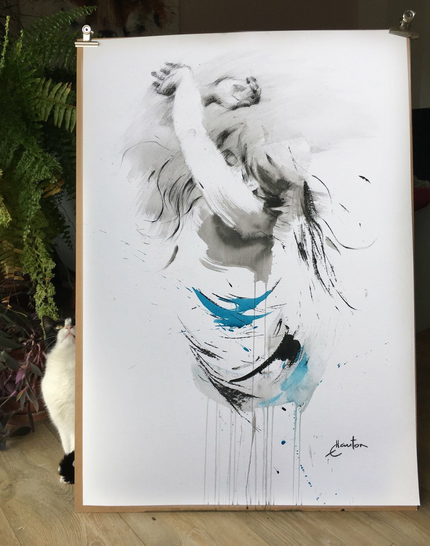 Inkonpaper Painting Dancer Cat Art Ewa Hauton Comment