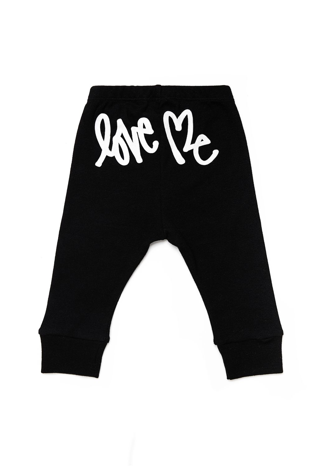 CLASSIC WHITE LOGO LEGGING 45.00 As you chase your little ripper around the house, keep your eyes on the prize: the Love Me logo across the bum.   lightweight leggings with logo on bum elastic waistband and cuffs unisex made in America 100% super-soft cotton  machine washable; dryer-friendly