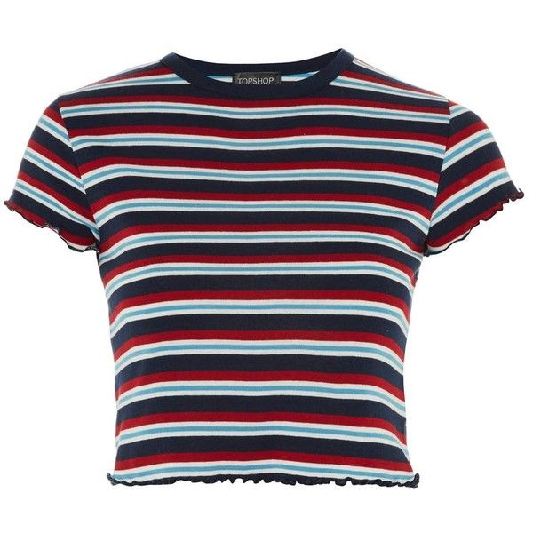7f24cbf7ce2c Topshop Short Sleeve Striped Lettuce T-Shirt ($17) ❤ liked on Polyvore  featuring tops, t-shirts, topshop, blue, striped tees, ruffle tee, blue tee,  blue ...