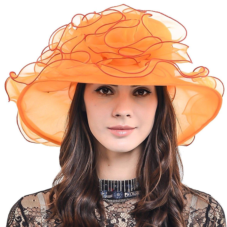 98878ae5c57 Womens Organza Church Dress Derby Wedding Floral Tea Party Hat S09 - Orange  - CS17Y0C99W7 - Hats   Caps