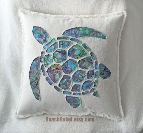 Sea Turtle Applique Pillow Cover In Aqua Turquoise By
