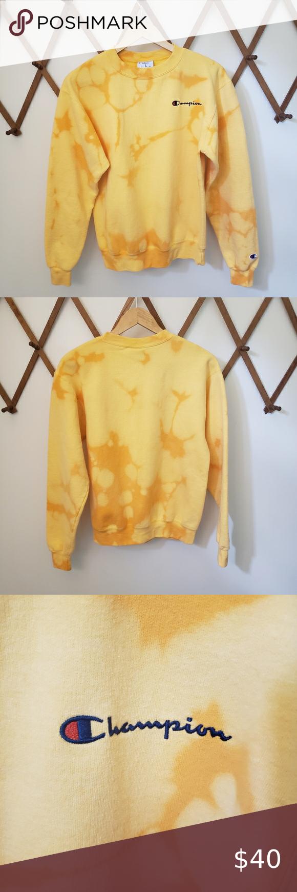 Champion Custom Bleach Dyed Crew Neck Sweatshirt Sweatshirts Yellow Crewneck Sweatshirt Crew Neck Sweatshirt [ 1740 x 580 Pixel ]
