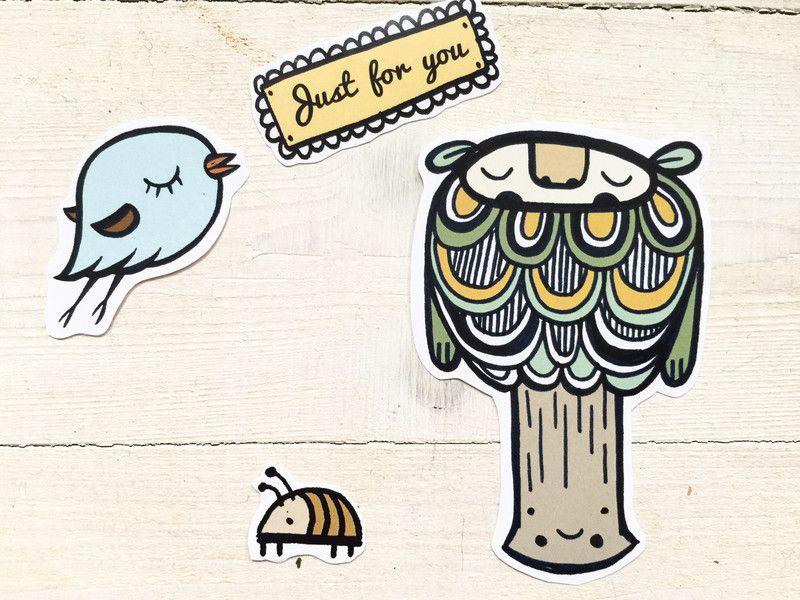 """Aufkleber & Etiketten - 8er Set Aufkleber """"Just for you"""" - ein Designerstück von tigapigs bei DaWanda"""