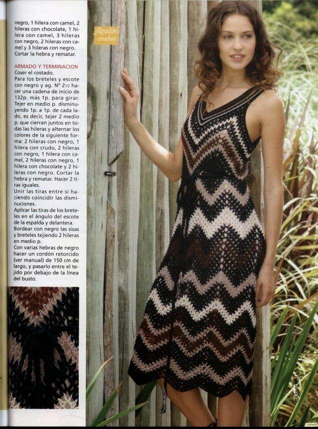 Vestido Zig Zag Retro Crochet Instrucciones - Patrones Crochet dress ...