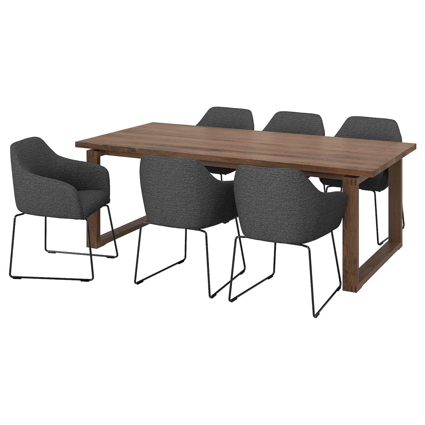 Morbylanga Tossberg Tisch Und 6 Armlehnstuhle Eichenfurnier Braun Las Metall Grau Ikea Osterreich Wohnzimmertische Stuhle Ikea