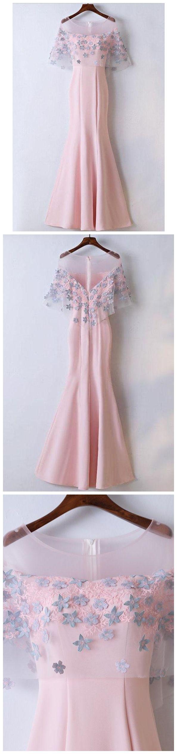 Pink womenus elegant formal dresses see through mermaid prom dresses