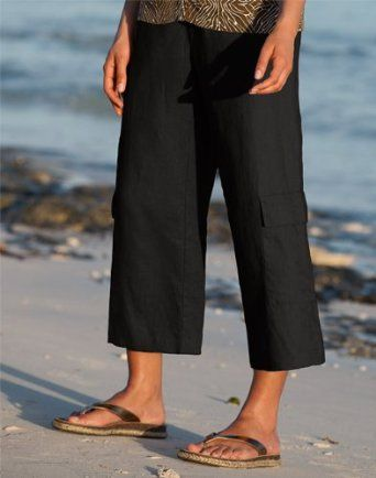 offer discounts fashion style of 2019 2019 factory price Knit-waist Shoreline Linen Cropped Pants, Black, Medium ...