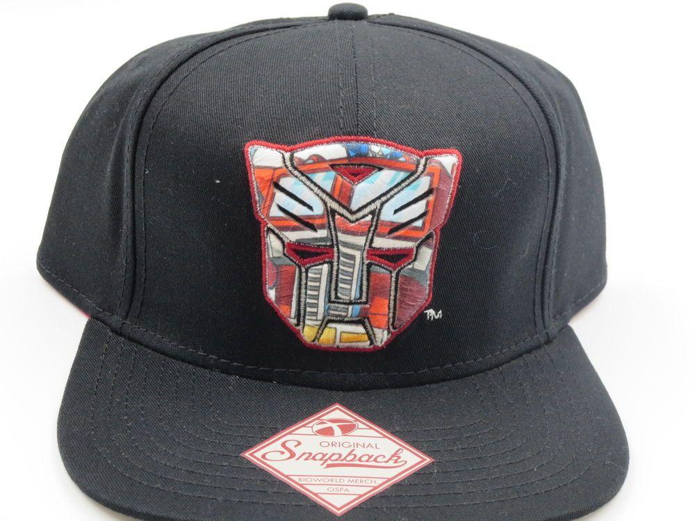 f46edc562 Transformers Autobots Logo Optimus Prime Black Bioworld Snapback Hat ...
