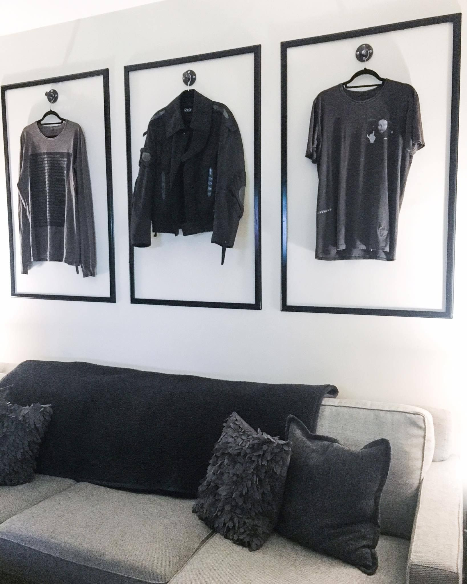 Set up these frames and hooks to display my clothes on
