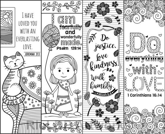 Printable Bible Verse Coloring Bookmarks for Kids and Adults ...