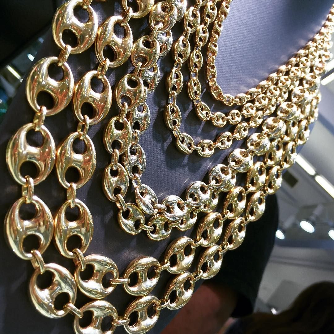 a4031face Gold Puffy Gucci Link Chains. Any size available! | Gavelli Jewelers ...