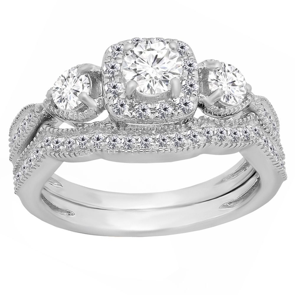 Miadora signature collection 14k white gold 1ct tdw diamond double row - Elora 14k Gold 1ct Tdw Round White Diamond 3 Stone Halo Style Bridal Set
