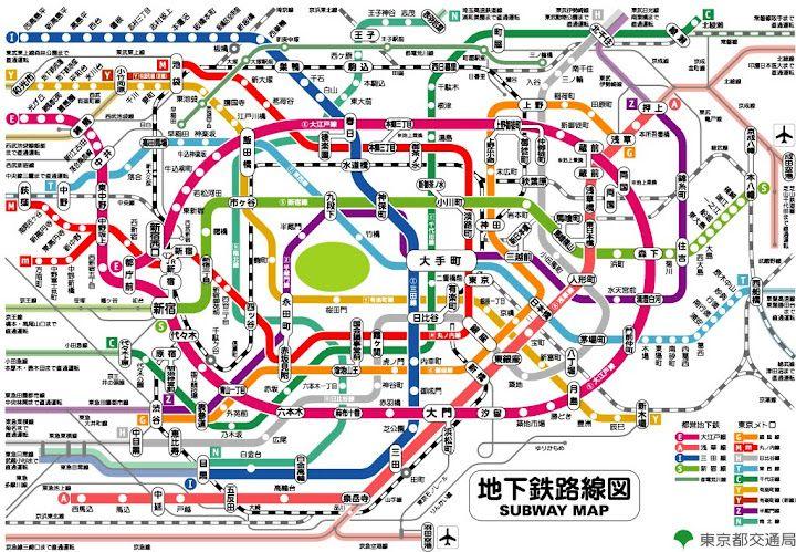 super complex subway map tokyo