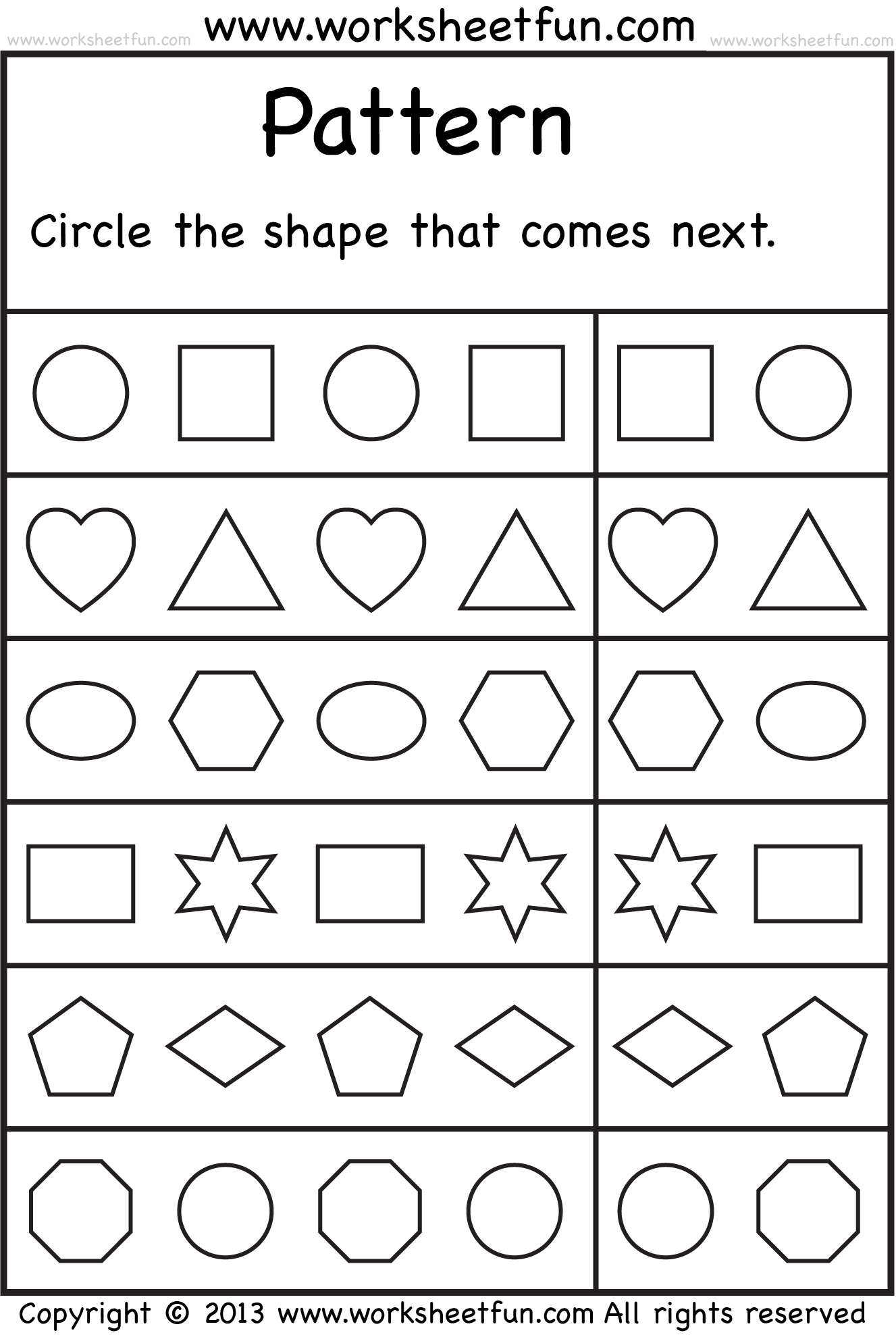 worksheet Free Printable Shapes Worksheets For Preschoolers free printable worksheets worksheetfun 8 best images of patterns preschool shape pattern kindergarten patter