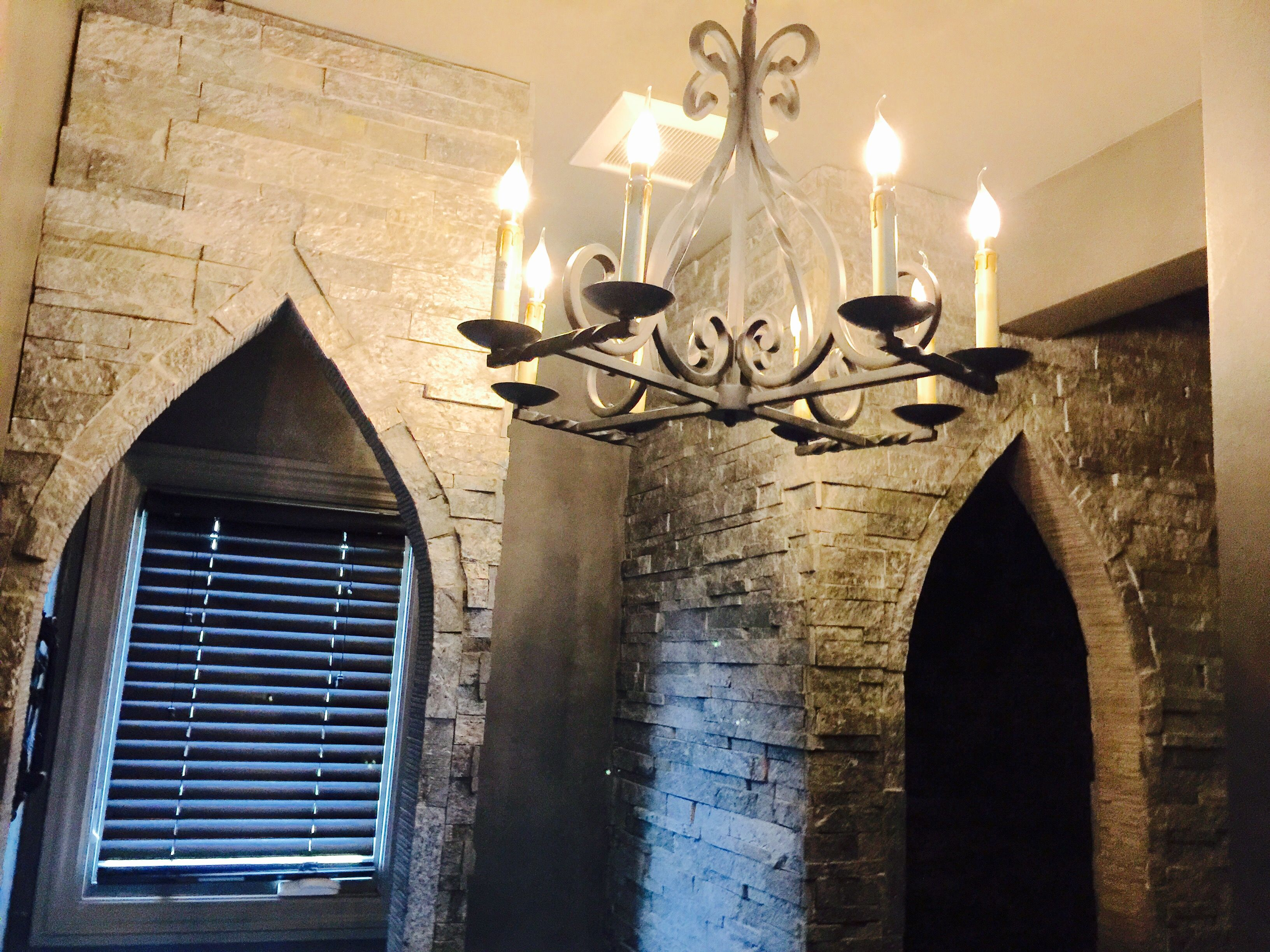 old world castle bathroom - lighting found on amazon. arched