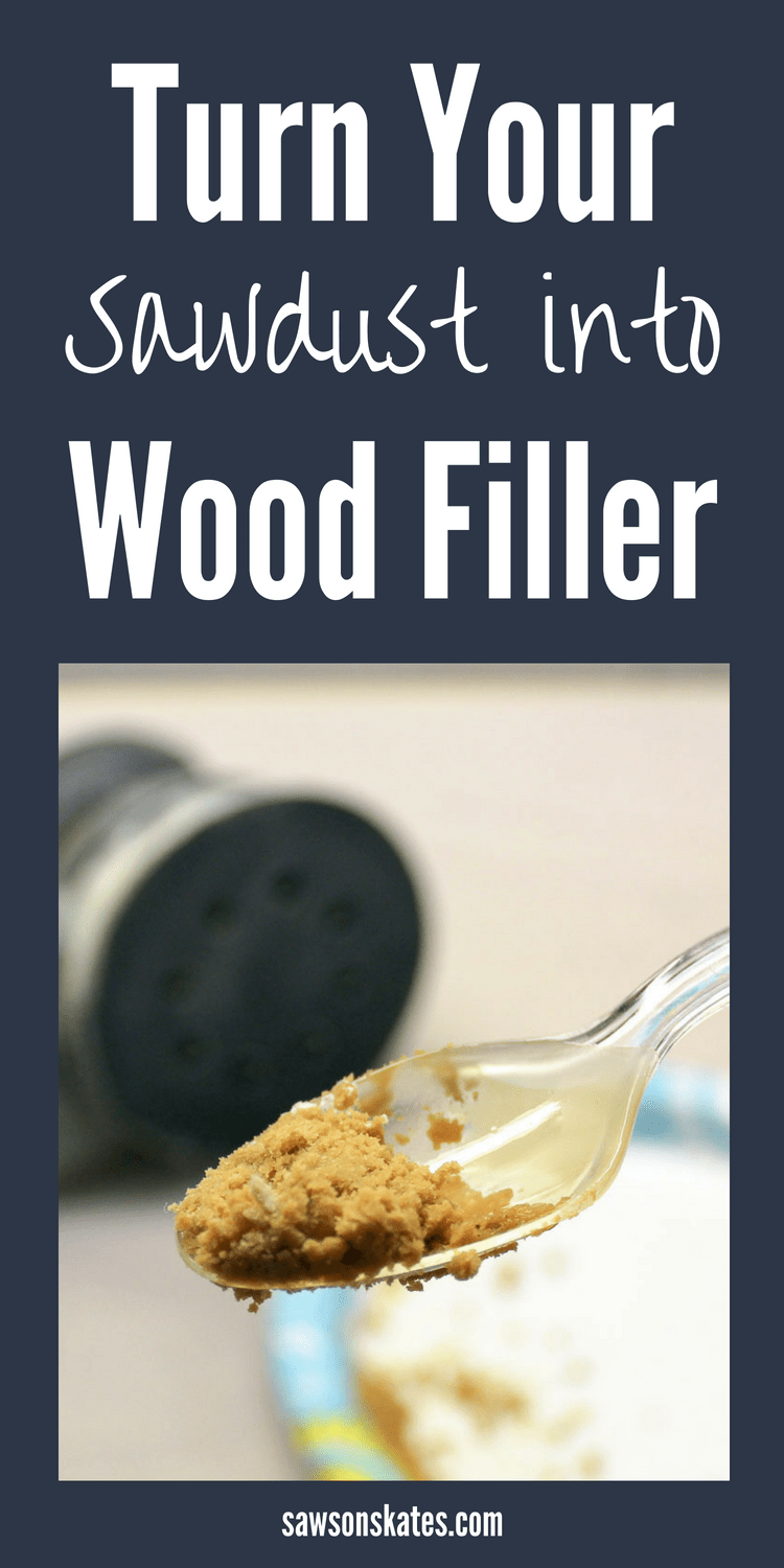 Did you know you can make your own DIY wood filler with sawdust? It's perfect for filling nail holes, cracks or gaps in wood. It takes stain really well, and best of all, it only requires two ingredients! #woodworkingtips #woodfiller #diyfurniture