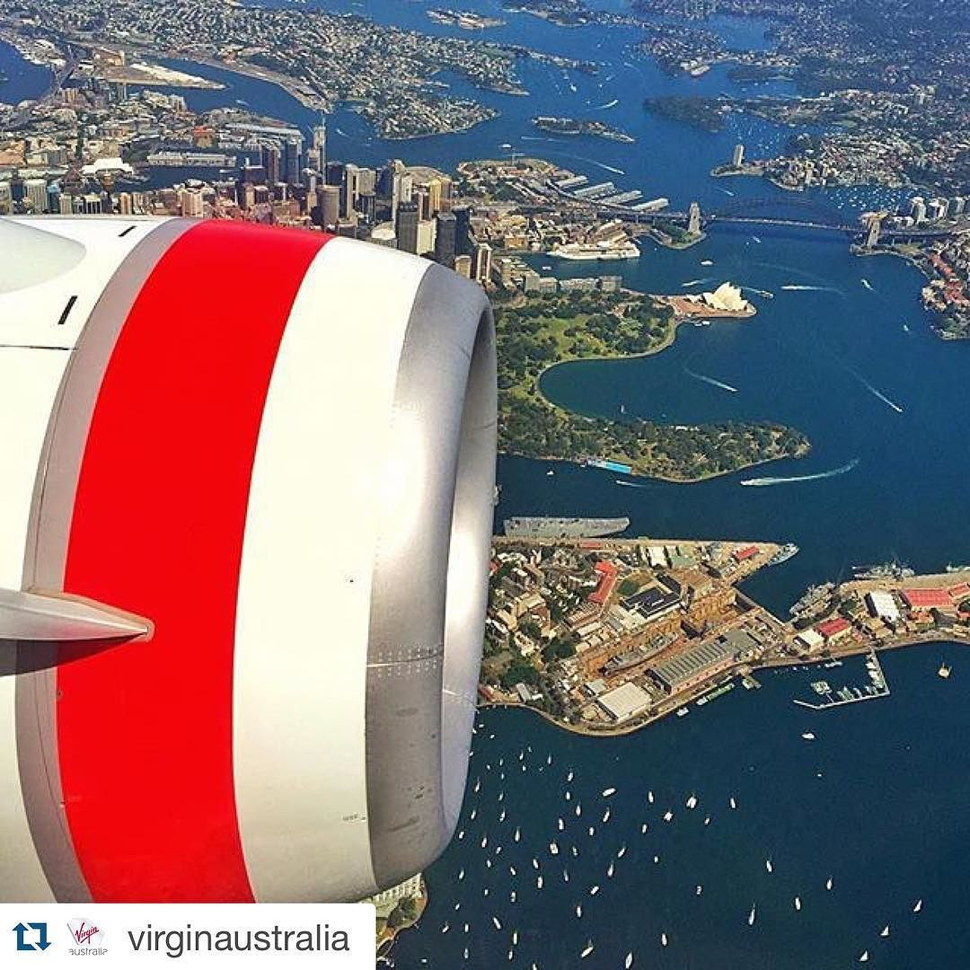 #Repost @virginaustralia with @repostapp.  A fine view of the harbour city. Beautiful photo over Sydney captured by @danandmoore en route to Brisbane. #sydney #sydneyharbourbridge #sydneyoperahouse #virginaustralia by ballinabyrongatewayairport http://ift.tt/1NRMbNv