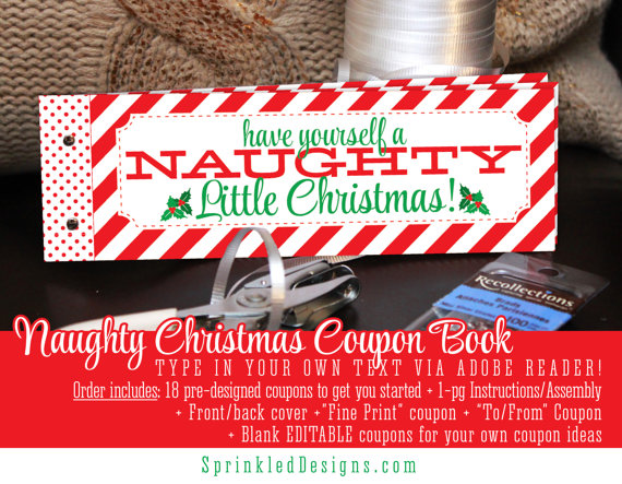 Christmas Gifts For Him Her - Naughty Coupon Book Printable - print your own voucher