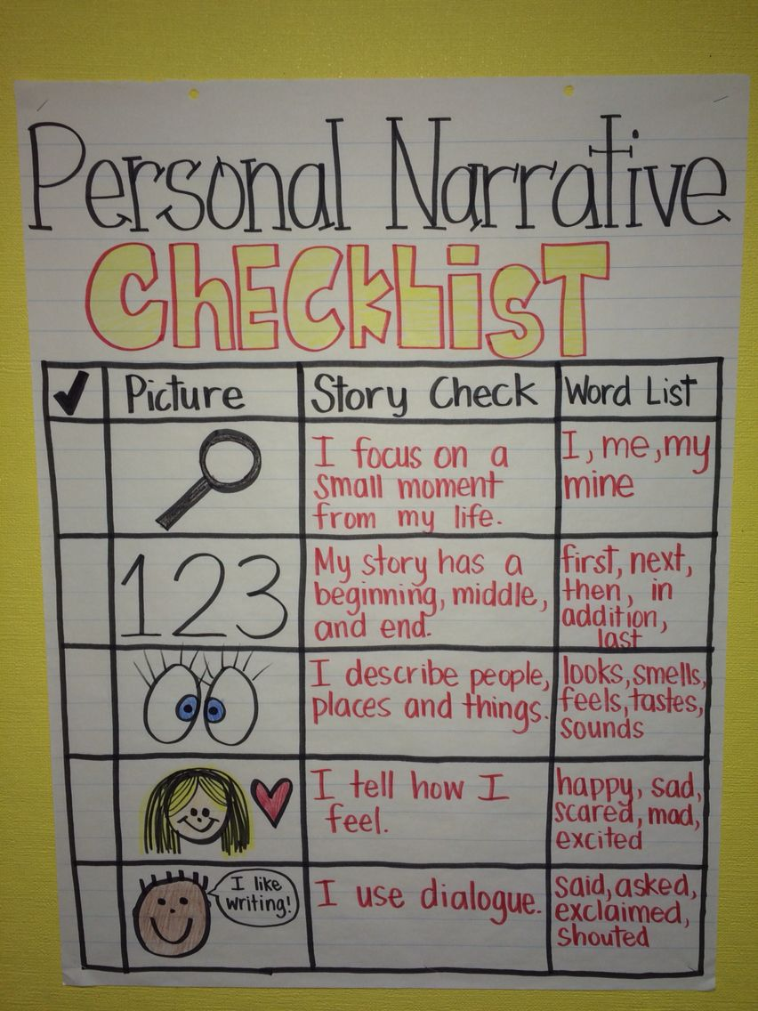 checklist for writing a personal narrative