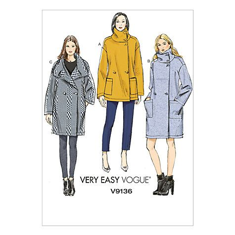Vogue Womens Very Easy Coat Sewing Pattern 9136 Sewing Patterns