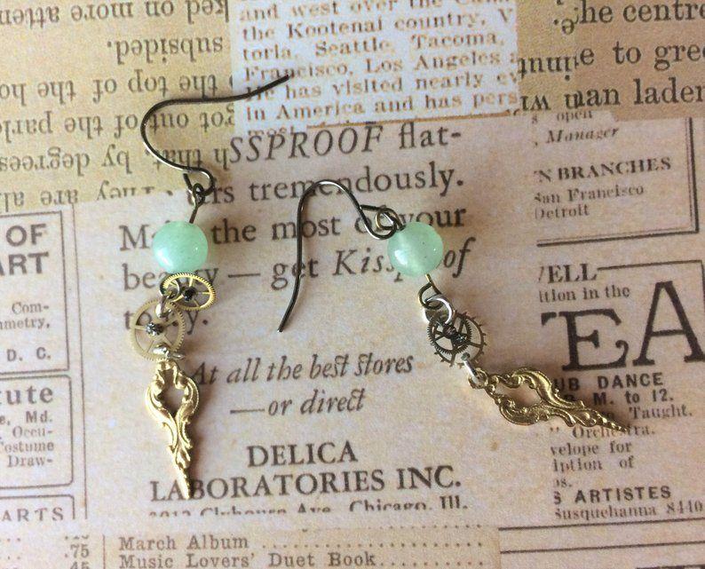 Vintage Watch Hands And Gears With Green Jasper Stones Attractive Dangler Earrings Jasper Stone Steampunk Earrings Earrings