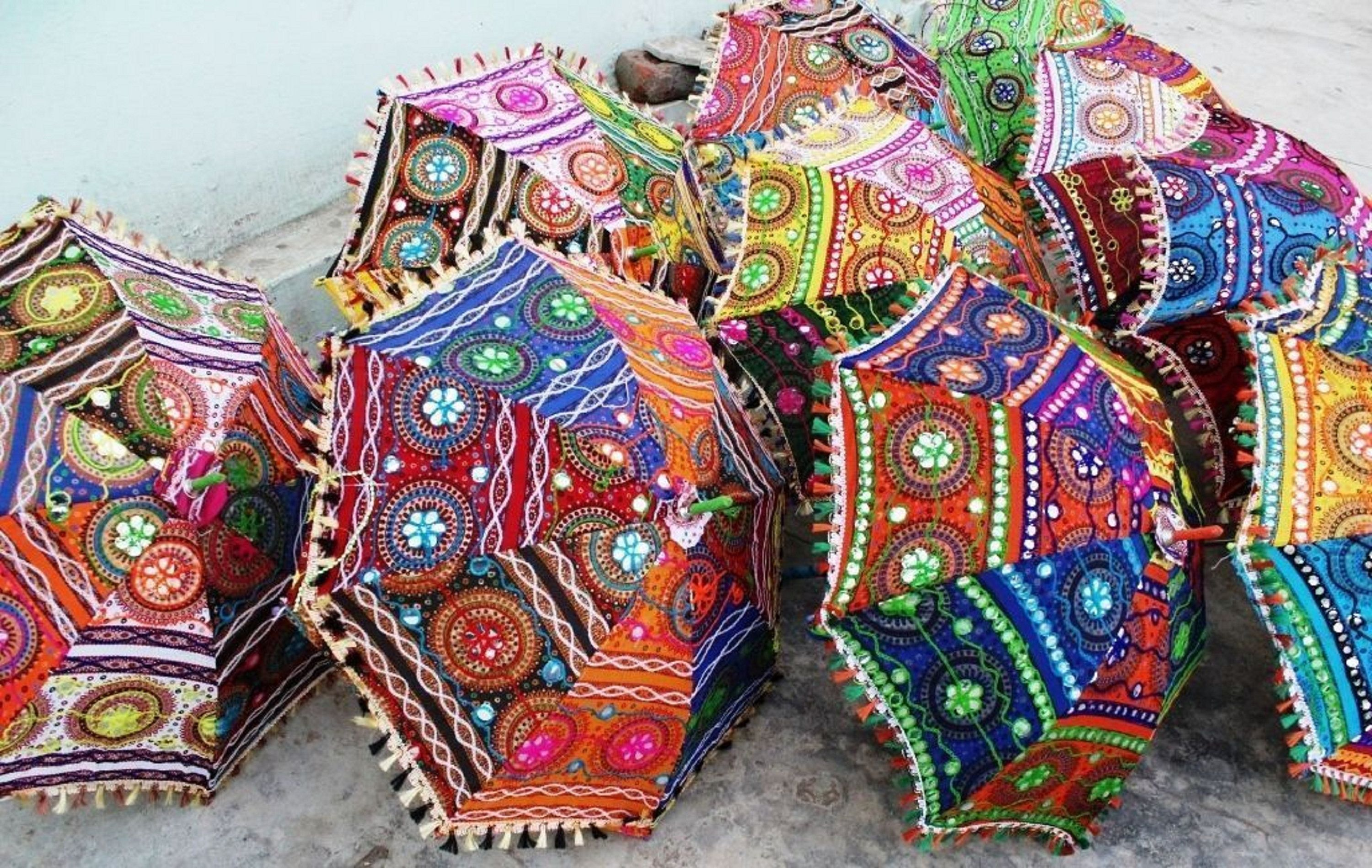 Handmade Patch work Fabric Mirror Work Embroidered Umbrella Colorful Ethnic Wholesale Lot Indian Traditional Designer Vintage