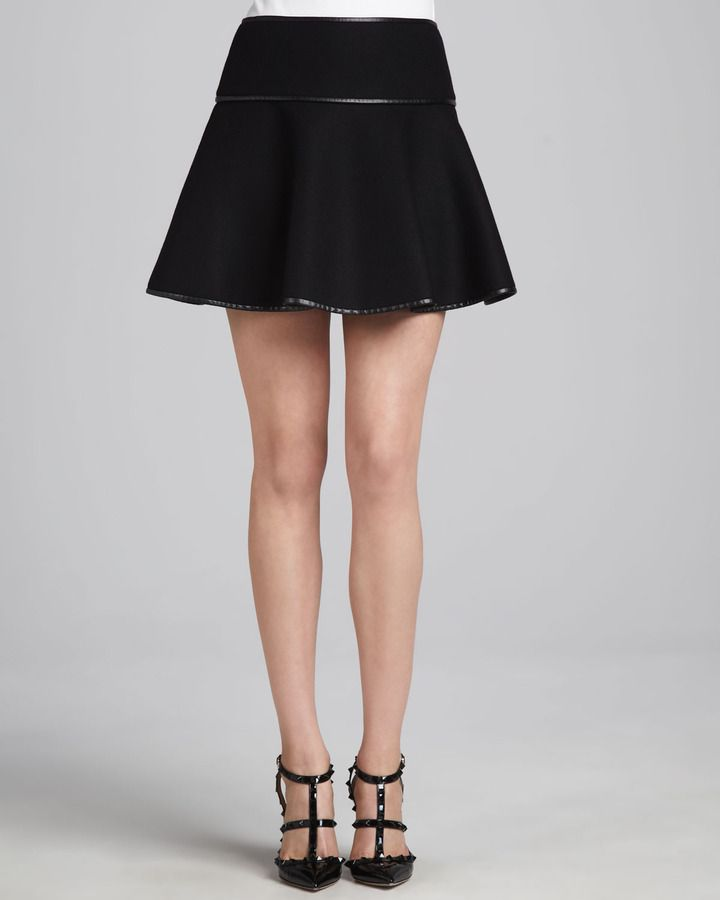 7532647aaef3 RED Valentino Flared High-Waist Skirt, Black on shopstyle.com ...