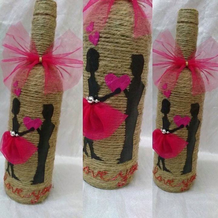 Bottle decor | Jute crafts, Crafts, Diy and crafts