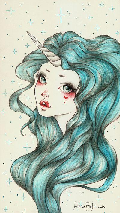 Unicorn Girl Art Print By Sabrina Eras Society6 Art Art Drawings Art Prints